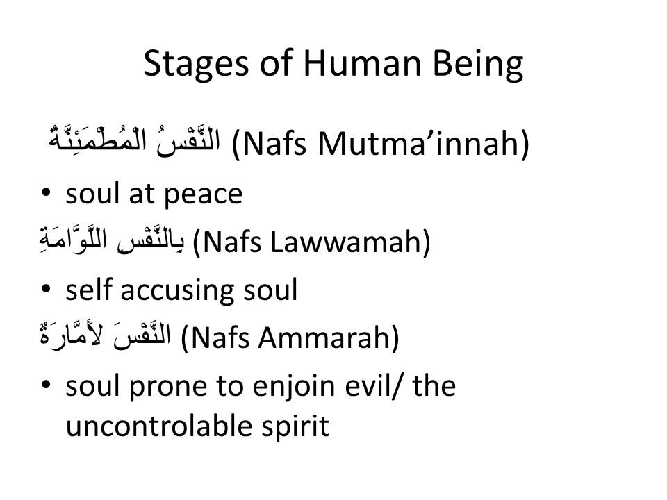 Stages of Human Being النَّفْسُ الْمُطْمَئِنَّةُ (Nafs Mutma'innah) soul at peace بِالنَّفْسِ اللَّوَّامَةِ (Nafs Lawwamah) self accusing soul النَّفْسَ لأَمَّارَةٌ (Nafs Ammarah) soul prone to enjoin evil/ the uncontrolable spirit