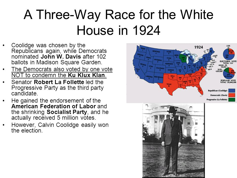 A Three-Way Race for the White House in 1924 Coolidge was chosen by the Republicans again, while Democrats nominated John W.