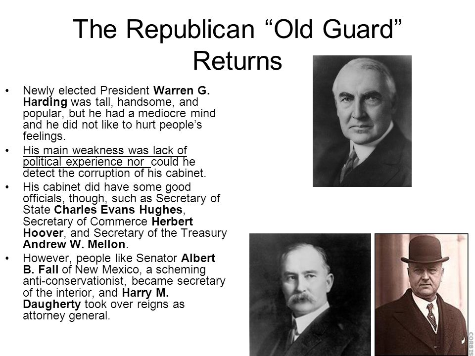 The Republican Old Guard Returns Newly elected President Warren G.