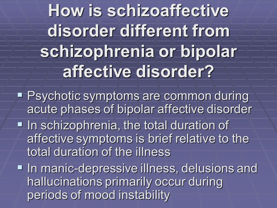 How is schizoaffective disorder different from schizophrenia or bipolar affective disorder.