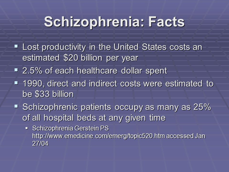 Schizophrenia: Facts  Lost productivity in the United States costs an estimated $20 billion per year  2.5% of each healthcare dollar spent  1990, direct and indirect costs were estimated to be $33 billion  Schizophrenic patients occupy as many as 25% of all hospital beds at any given time  Schizophrenia Gerstein PS http://www.emedicine.com/emerg/topic520.htm accessed Jan 27/04