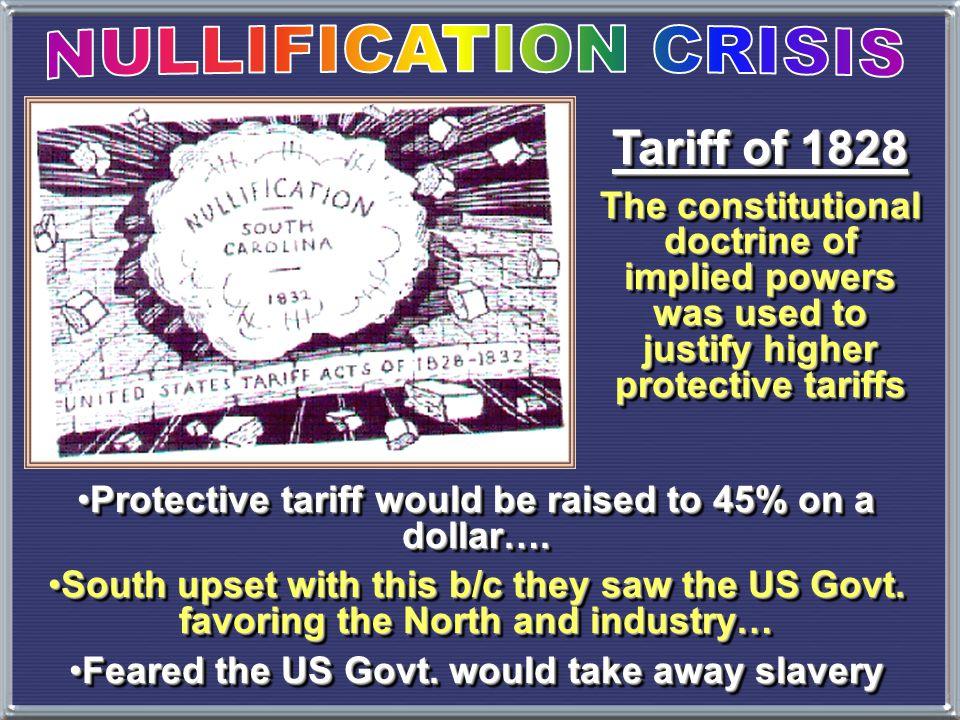 1832 Tariff Conflict  1828 --> Tariff of Abomination Tariff of 1828  1832 --> new tariff  South Carolina's reaction.