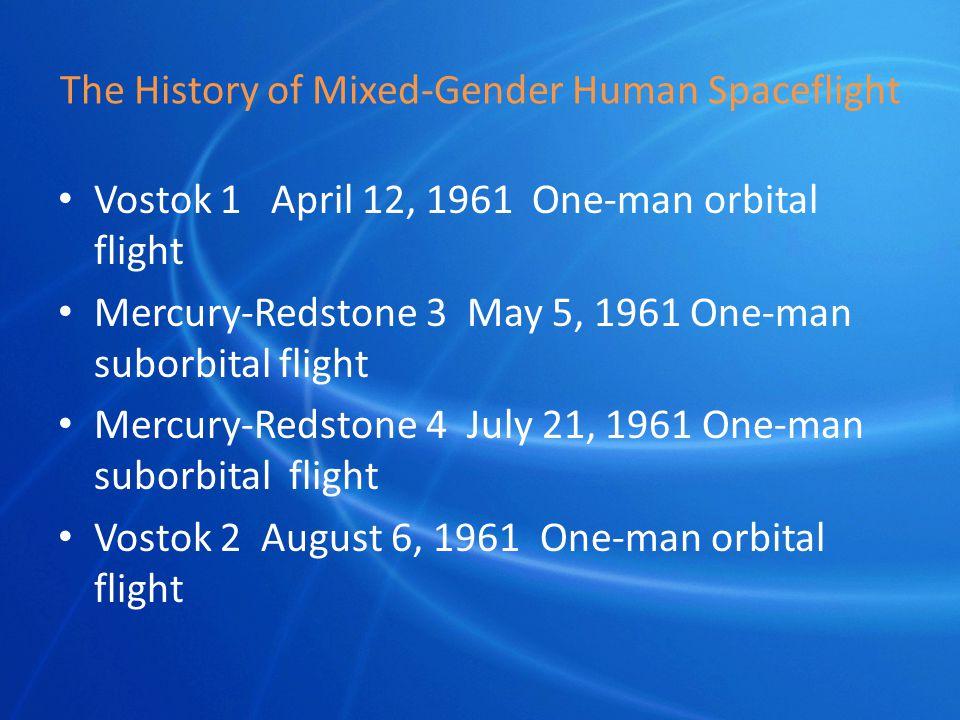 The History of Mixed-Gender Human Spaceflight Vostok 1 April 12, 1961 One-man orbital flight Mercury-Redstone 3 May 5, 1961 One-man suborbital flight Mercury-Redstone 4 July 21, 1961 One-man suborbital flight Vostok 2 August 6, 1961 One-man orbital flight