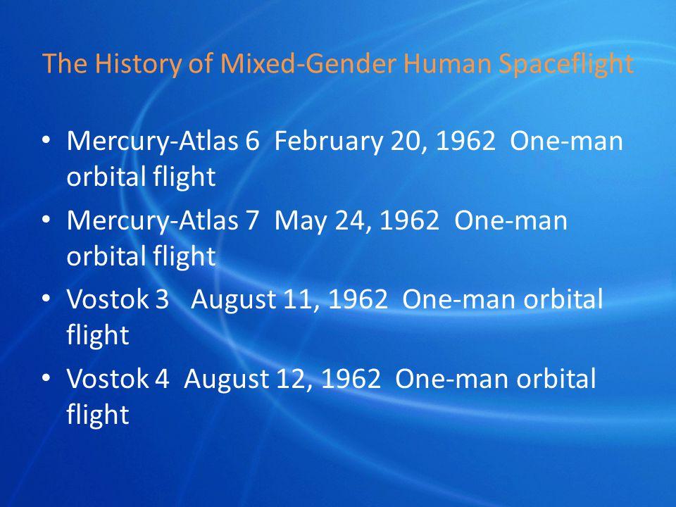 The History of Mixed-Gender Human Spaceflight Mercury-Atlas 6 February 20, 1962 One-man orbital flight Mercury-Atlas 7 May 24, 1962 One-man orbital flight Vostok 3 August 11, 1962 One-man orbital flight Vostok 4 August 12, 1962 One-man orbital flight
