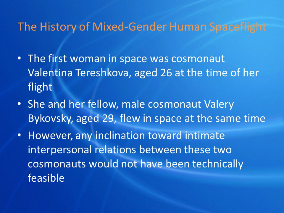 Conception in Space Mekada fish did produce viable offspring after mating on STS-65 (1994) The overall effects of the space environment on human fertility and conception are unknown