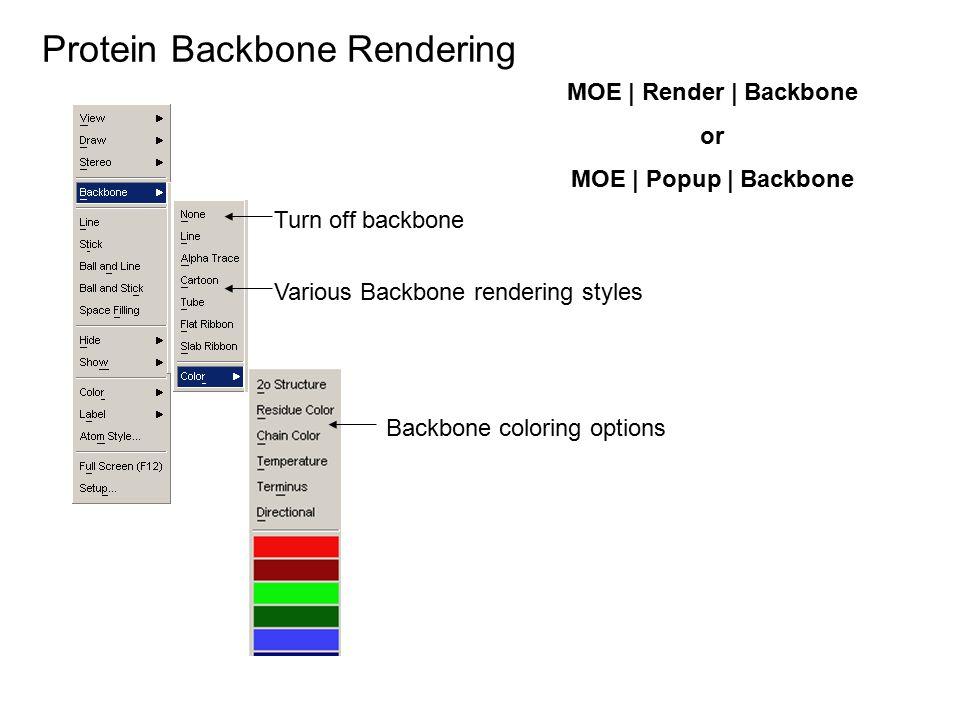 Protein Backbone Rendering MOE | Render | Backbone or MOE | Popup | Backbone Turn off backbone Various Backbone rendering styles Backbone coloring opt