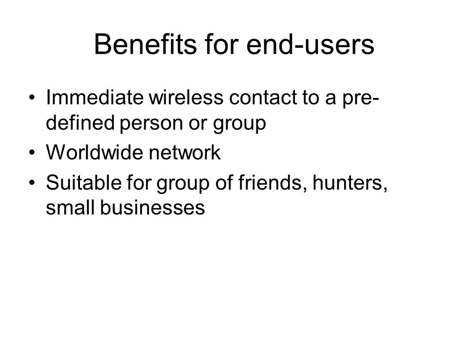 Benefits for operators Enables to compete with existing PTT services Enhanced voice services New usage models -> more usage -> increased ARPU in developed markets New users in developing markets Efficient way of using network resources
