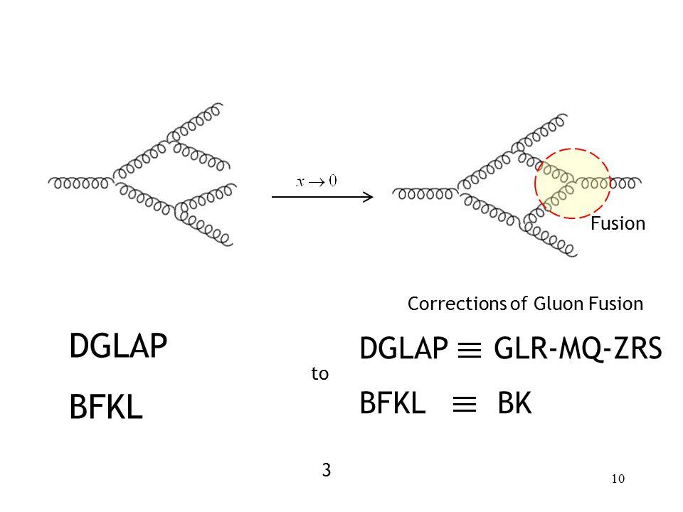 10 DGLAP BFKL Corrections of Gluon Fusion to DGLAP GLR-MQ-ZRS BFKL BK Fusion 3