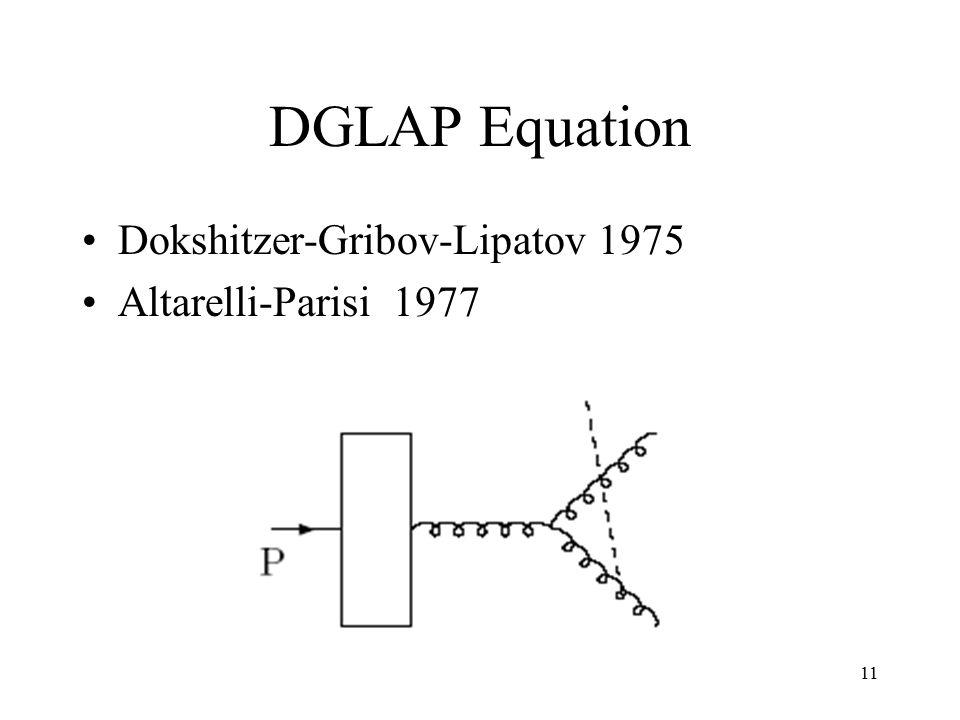 11 DGLAP Equation Dokshitzer-Gribov-Lipatov 1975 Altarelli-Parisi 1977