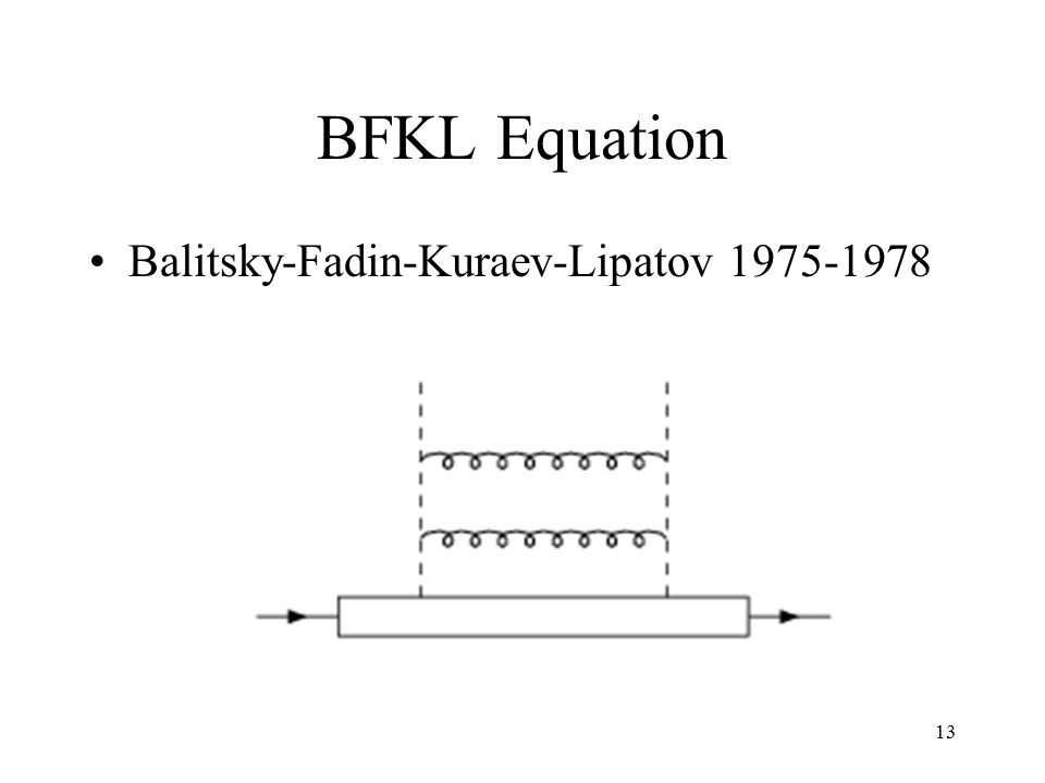13 BFKL Equation Balitsky-Fadin-Kuraev-Lipatov 1975-1978