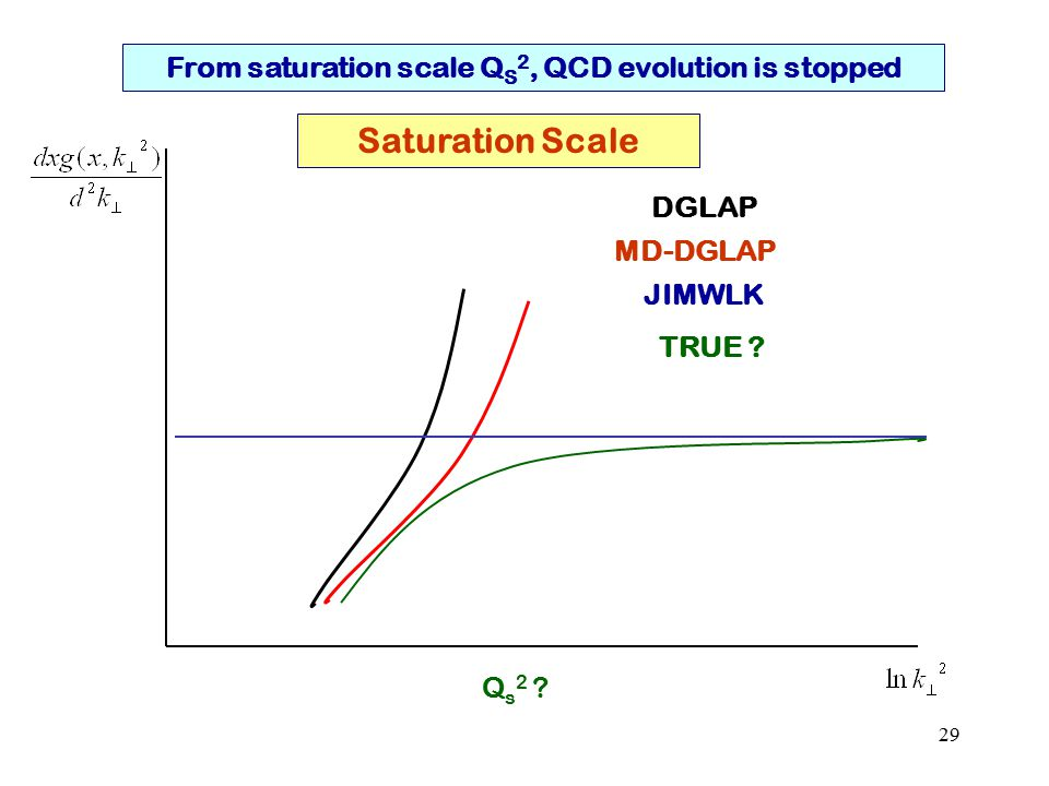 29 From saturation scale Q S 2, QCD evolution is stopped Saturation Scale Q s 2 .