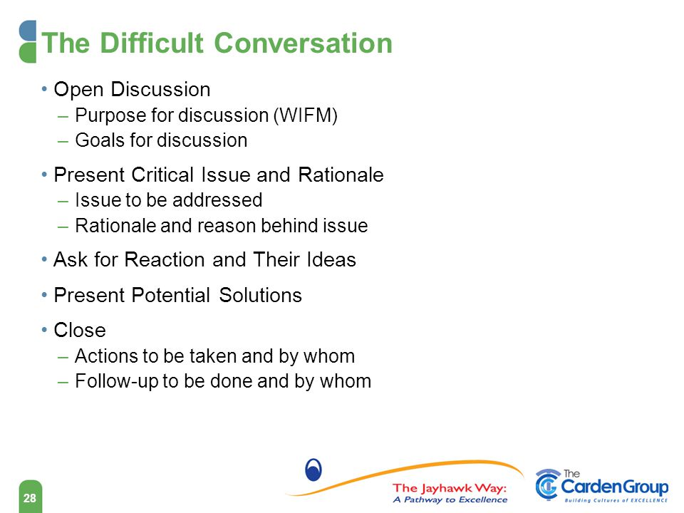 The Difficult Conversation Open Discussion –Purpose for discussion (WIFM) –Goals for discussion Present Critical Issue and Rationale –Issue to be addressed –Rationale and reason behind issue Ask for Reaction and Their Ideas Present Potential Solutions Close –Actions to be taken and by whom –Follow-up to be done and by whom 28