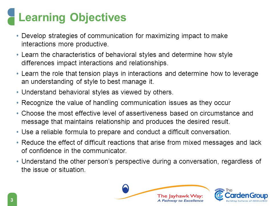 3 Learning Objectives Develop strategies of communication for maximizing impact to make interactions more productive.