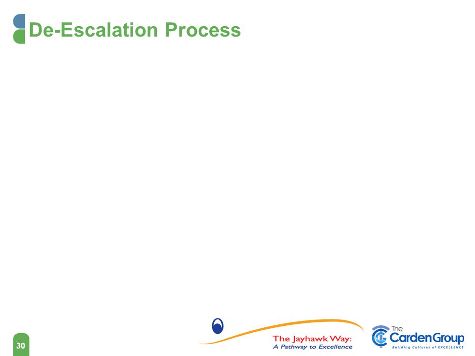 De-Escalation Process 30 How to De-escalate a Situation It would be wonderful if after every difficult conversation the party would say, That sounds great.