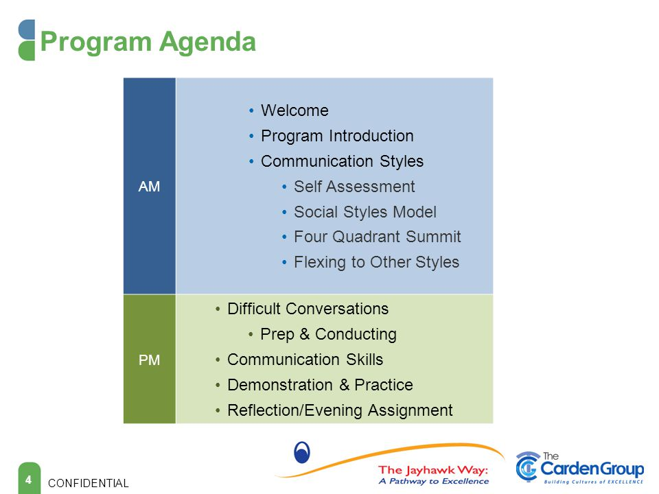 4 Program Agenda AM Welcome Program Introduction Communication Styles Self Assessment Social Styles Model Four Quadrant Summit Flexing to Other Styles PM Difficult Conversations Prep & Conducting Communication Skills Demonstration & Practice Reflection/Evening Assignment CONFIDENTIAL