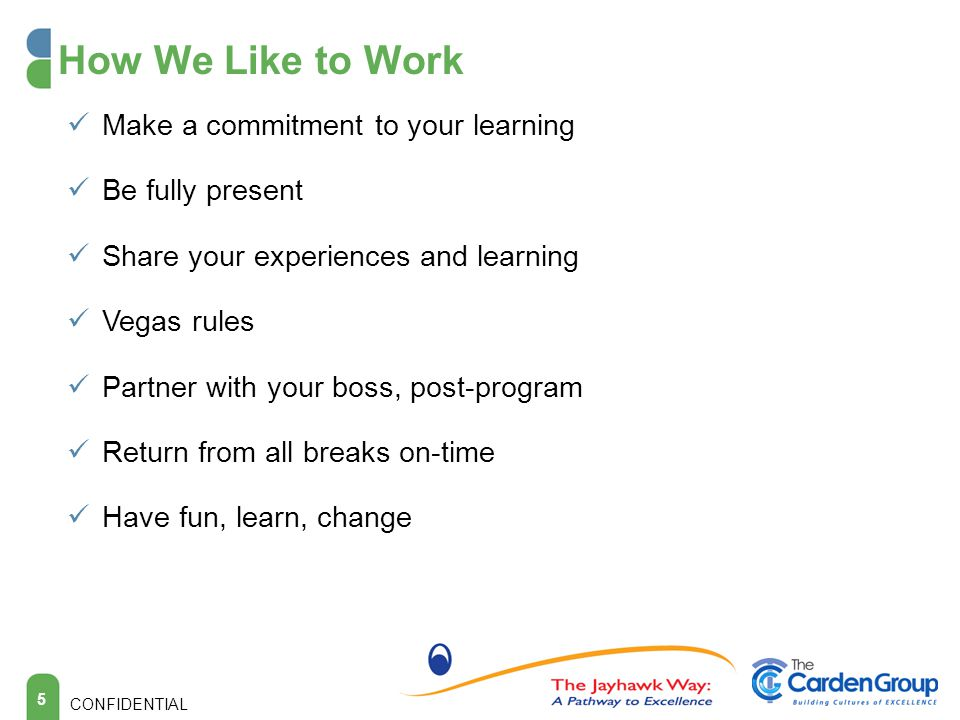 5 How We Like to Work Make a commitment to your learning Be fully present Share your experiences and learning Vegas rules Partner with your boss, post-program Return from all breaks on-time Have fun, learn, change CONFIDENTIAL