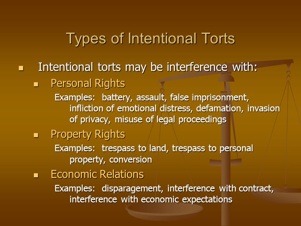 Types of Intentional Torts Intentional torts may be interference with: Intentional torts may be interference with: Personal Rights Personal Rights Exa