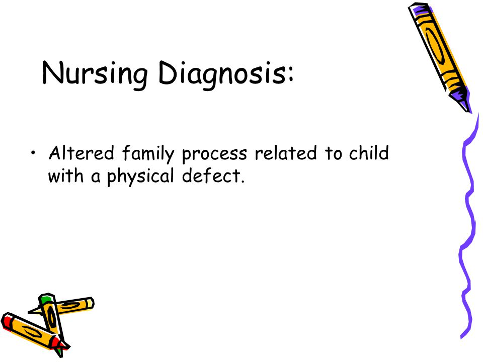 Nursing Diagnosis: Altered family process related to child with a physical defect.