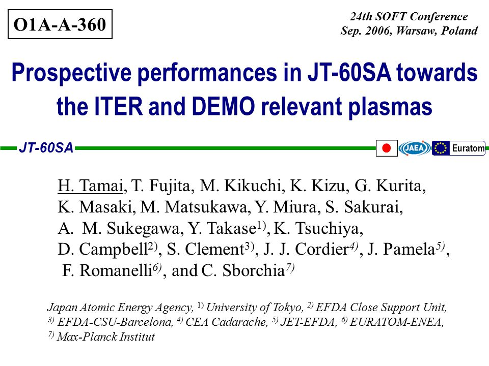JT-60SA Euratom 12 Access for breakeven and high-  plasma with ITER and DEMO relevant parameters A=2.6, DN, q 95 ~3.5, HH 98y2 =1.5 3MA 1.5T 3.5MA 1.8T 4MA 2T 4.5MA 2.3T 5MA 2.5T 2.5MA 1.25T 25 MW n/n GW =0.8 40 MW n/n GW =0.8 5.5MA 2.8T Accessibility for high Q DT and high  N is enhanced with increased heating power.