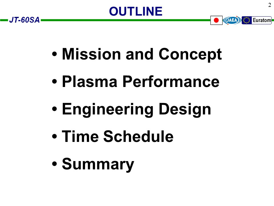 JT-60SA Euratom 23 Time Schedule 2006Completeion of Conceptual Design with the collaboration of JA and EU design teams 2007Detailed Design and Starts of Construction Schedule of construction and operation agreed in JA-EU WG Construction: 7 years + exploitation: 3 years