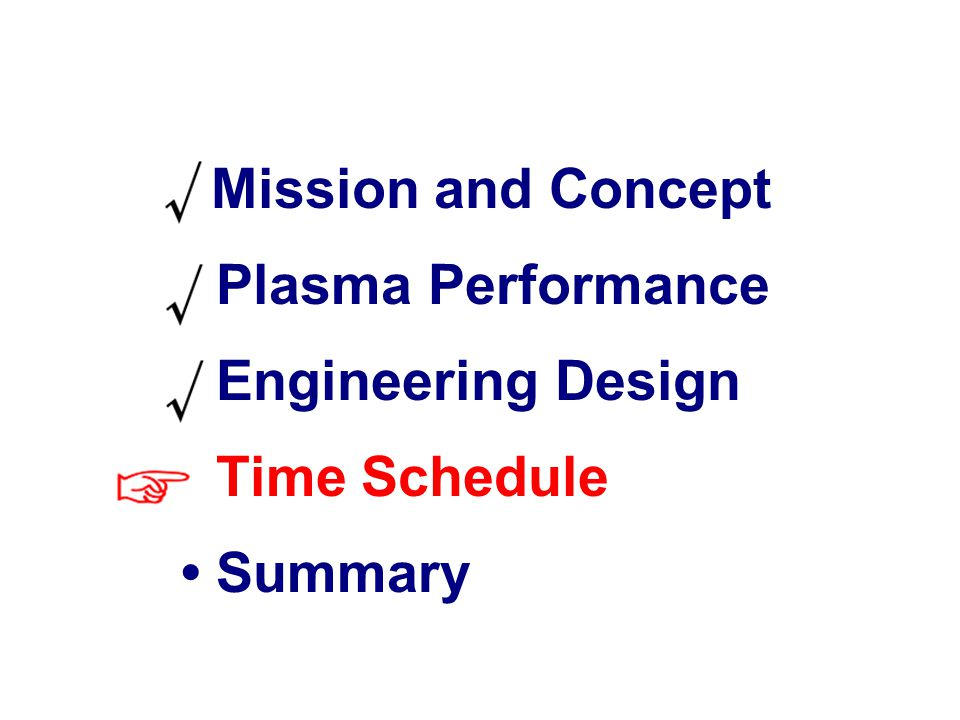 JT-60SA Euratom 22 Time Schedule  Mission and Concept Plasma Performance Engineering Design Time Schedule Summary