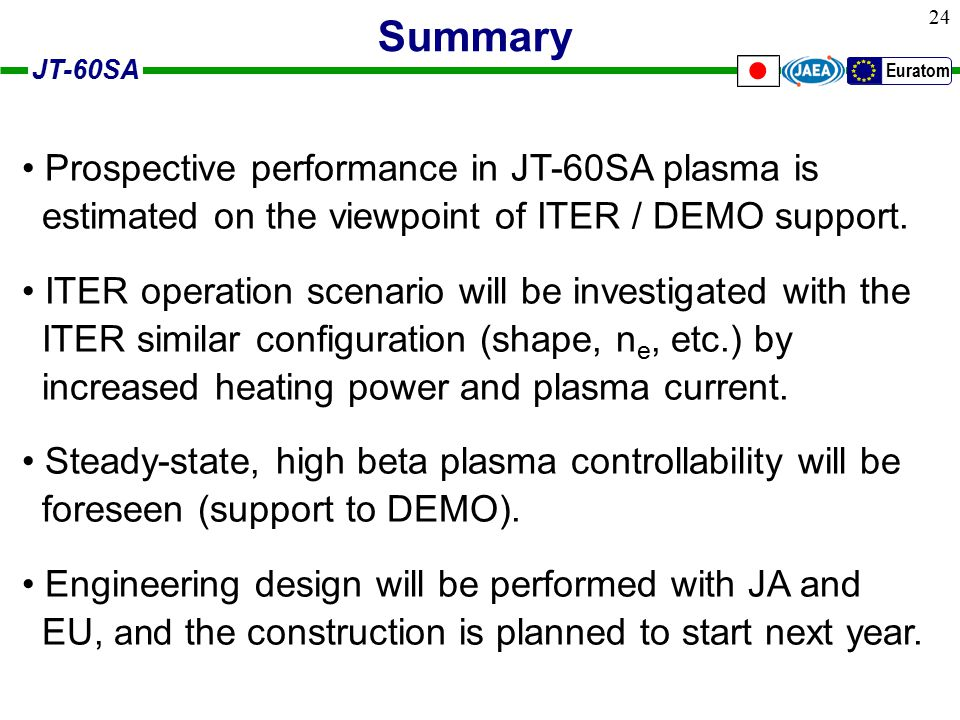 JT-60SA Euratom 24 Summary Prospective performance in JT-60SA plasma is estimated on the viewpoint of ITER / DEMO support.