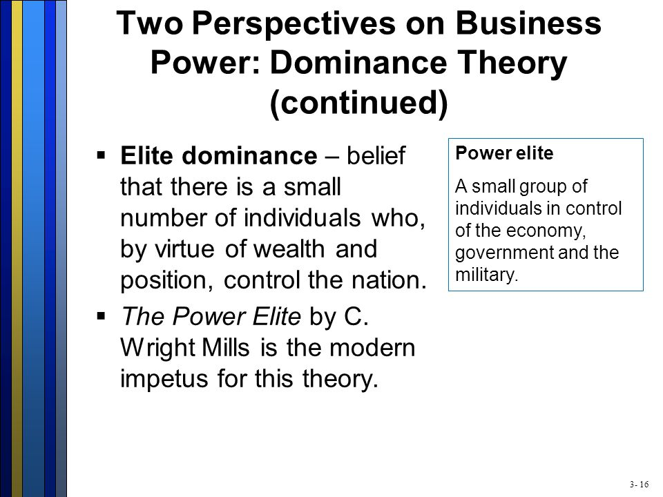 3- 16 Two Perspectives on Business Power: Dominance Theory (continued)  Elite dominance – belief that there is a small number of individuals who, by virtue of wealth and position, control the nation.