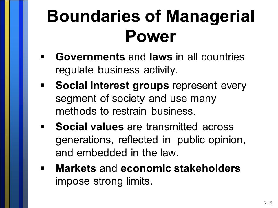 3- 19 Boundaries of Managerial Power  Governments and laws in all countries regulate business activity.
