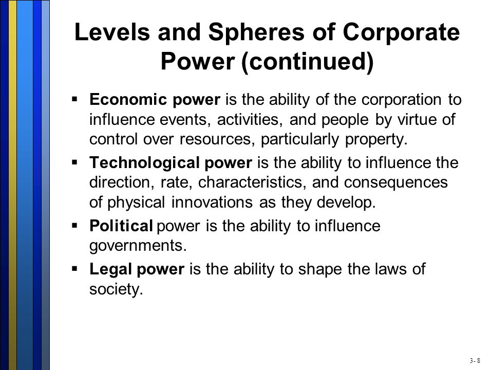 3- 8 Levels and Spheres of Corporate Power (continued)  Economic power is the ability of the corporation to influence events, activities, and people
