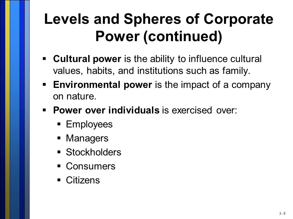 3- 9 Levels and Spheres of Corporate Power (continued)  Cultural power is the ability to influence cultural values, habits, and institutions such as family.