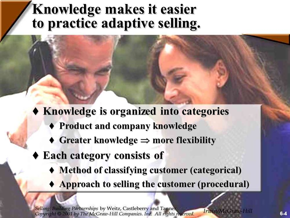 Approaches for Developing Knowledge  Tap knowledge from experts  Read company materials and trade publications  Use market research information  Ask for feedback  Analyze successes and failures  Develop an intrinsic orientation toward your work 6-5
