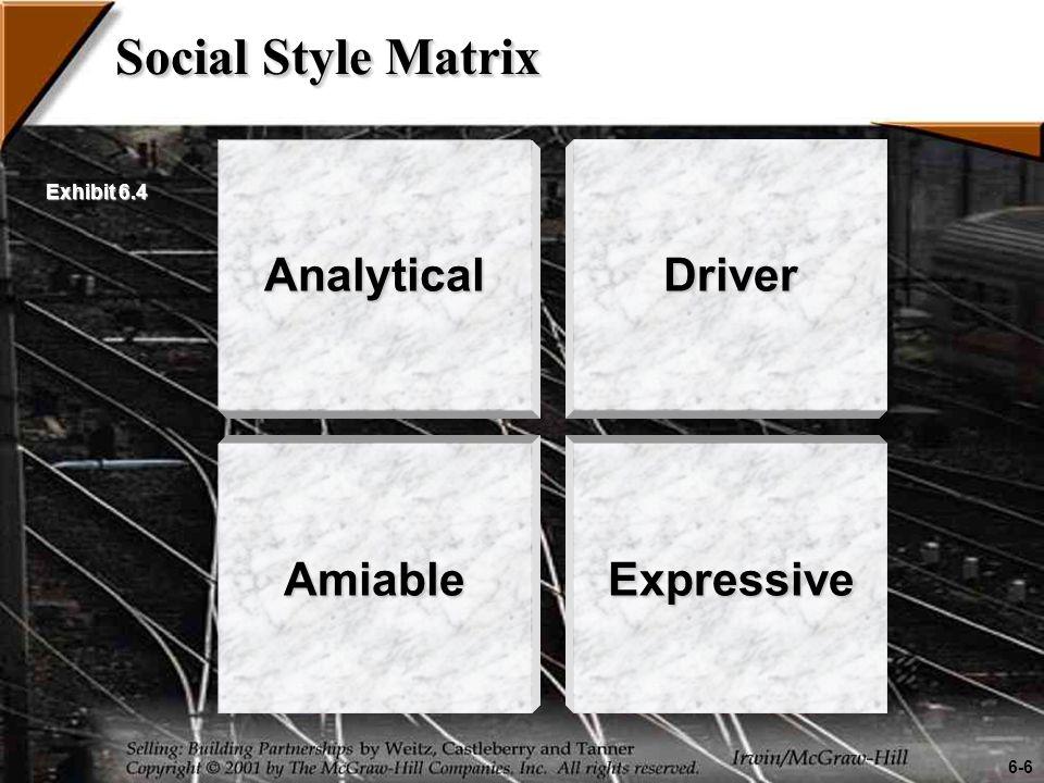 Social Style Matrix Analytical AmiableExpressive Driver 6-6 Exhibit 6.4