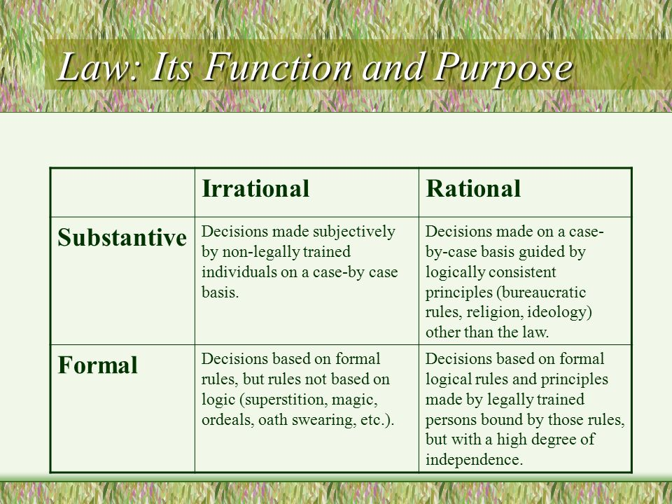 Law: Its Function and Purpose IrrationalRational Substantive Decisions made subjectively by non-legally trained individuals on a case-by case basis. D