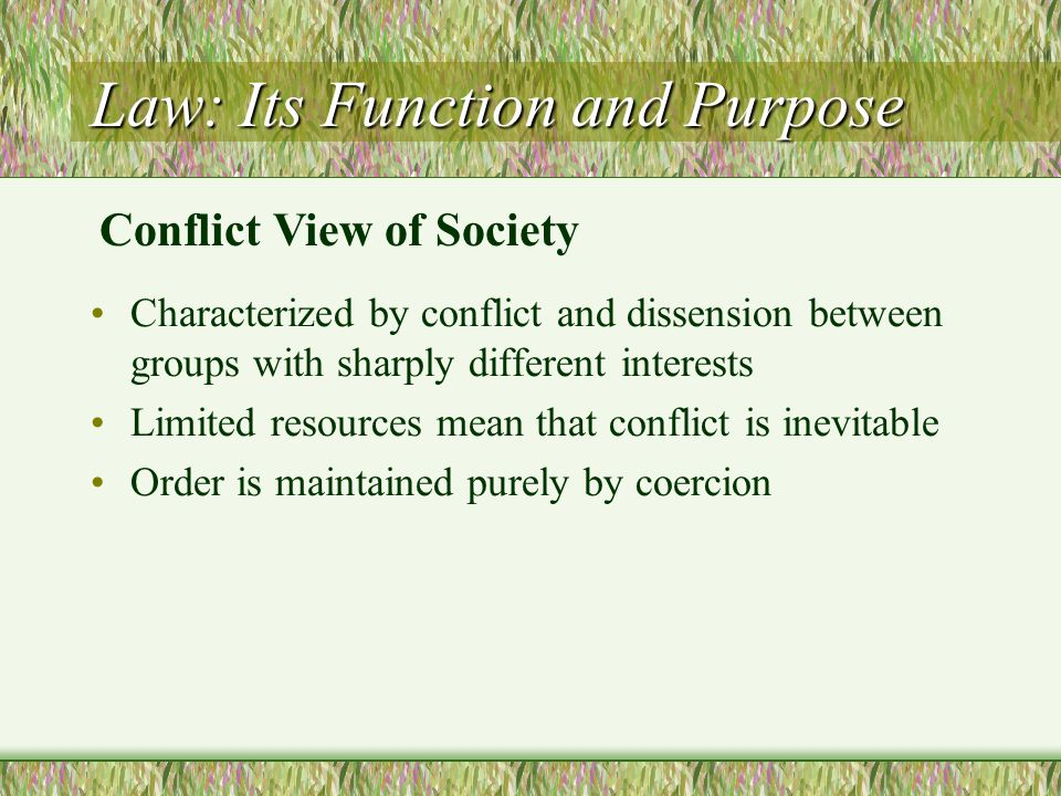Law: Its Function and Purpose Characterized by conflict and dissension between groups with sharply different interests Limited resources mean that con