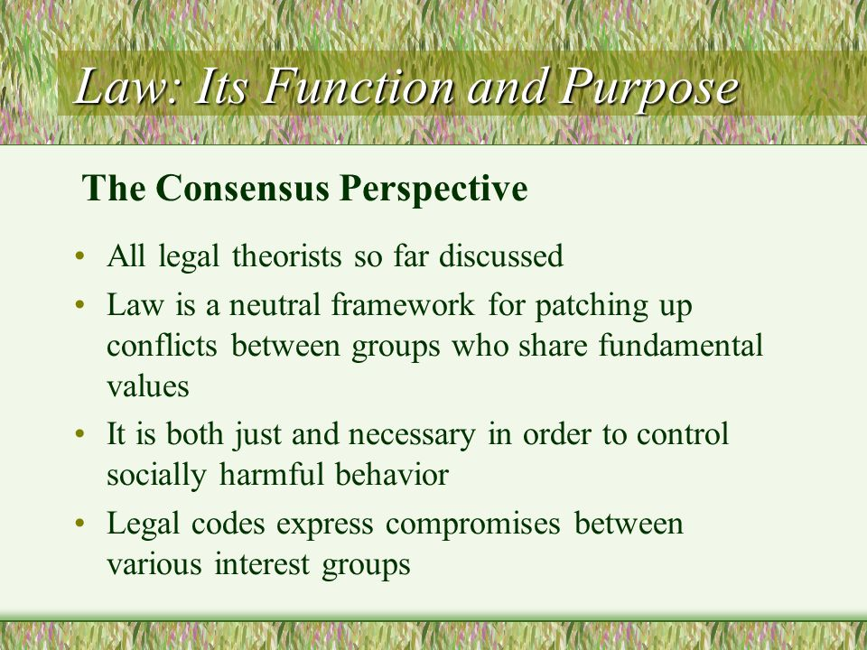 Law: Its Function and Purpose All legal theorists so far discussed Law is a neutral framework for patching up conflicts between groups who share funda