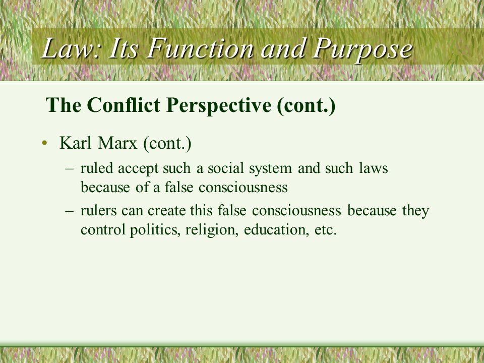 Law: Its Function and Purpose Karl Marx (cont.) –ruled accept such a social system and such laws because of a false consciousness –rulers can create t