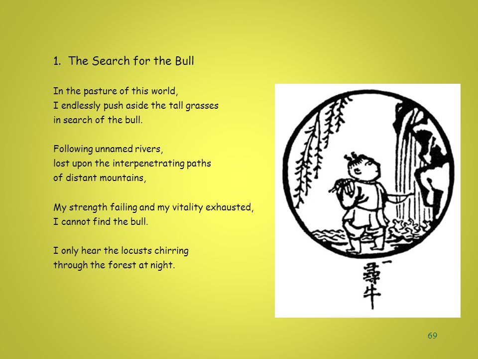 68 10 B u l l s 1. The Search for the Bull 6. Riding the Bull Home 2. Discovering the Footprints 7. The Bull Transcended 3. Perceiving the Bull 8. Bot