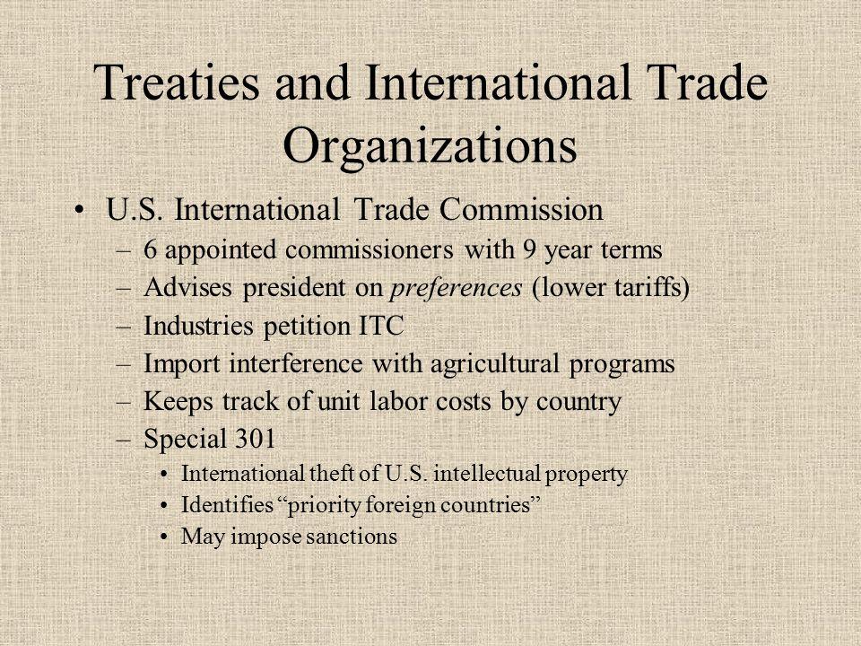Treaties and International Trade Organizations U.S.