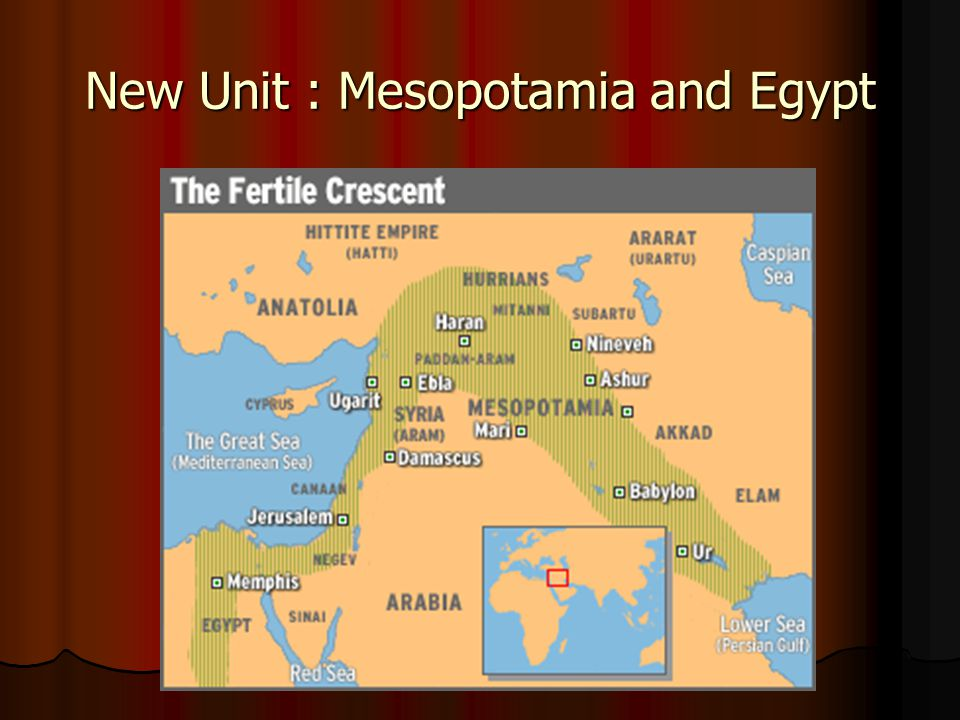 New Unit : Mesopotamia and Egypt