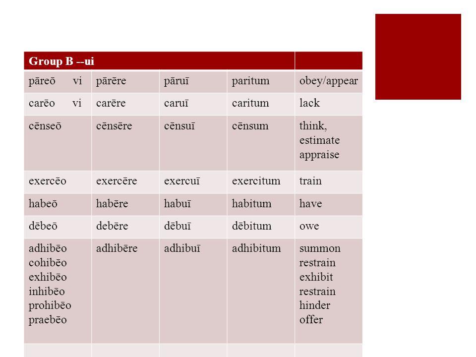 Group B --ui pāreō vipārērepāruīparitumobey/appear carēo vicarērecaruīcaritumlack cēnseōcēnsērecēnsuīcēnsumthink, estimate appraise exercēoexercēreexercuīexercitumtrain habeōhabērehabuīhabitumhave dēbeōdebēredēbuīdēbitumowe adhibēo cohibēo exhibēo inhibēo prohibēo praebēo adhibēreadhibuīadhibitumsummon restrain exhibit restrain hinder offer