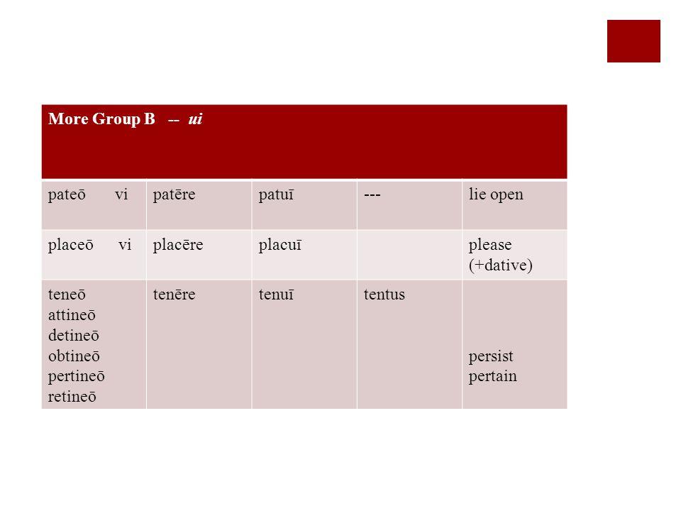 More Group B -- ui pateō vipatērepatuī---lie open placeō viplacēreplacuīplease (+dative) teneō attineō detineō obtineō pertineō retineō tenēretenuītentus persist pertain