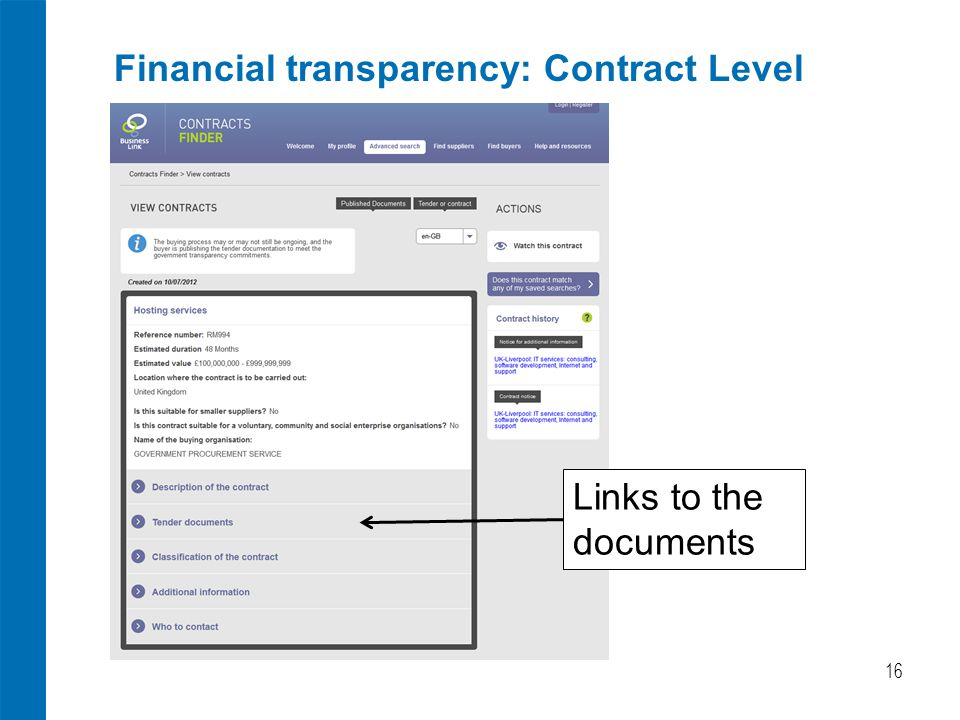 Financial transparency: Contract Level 16 Links to the documents