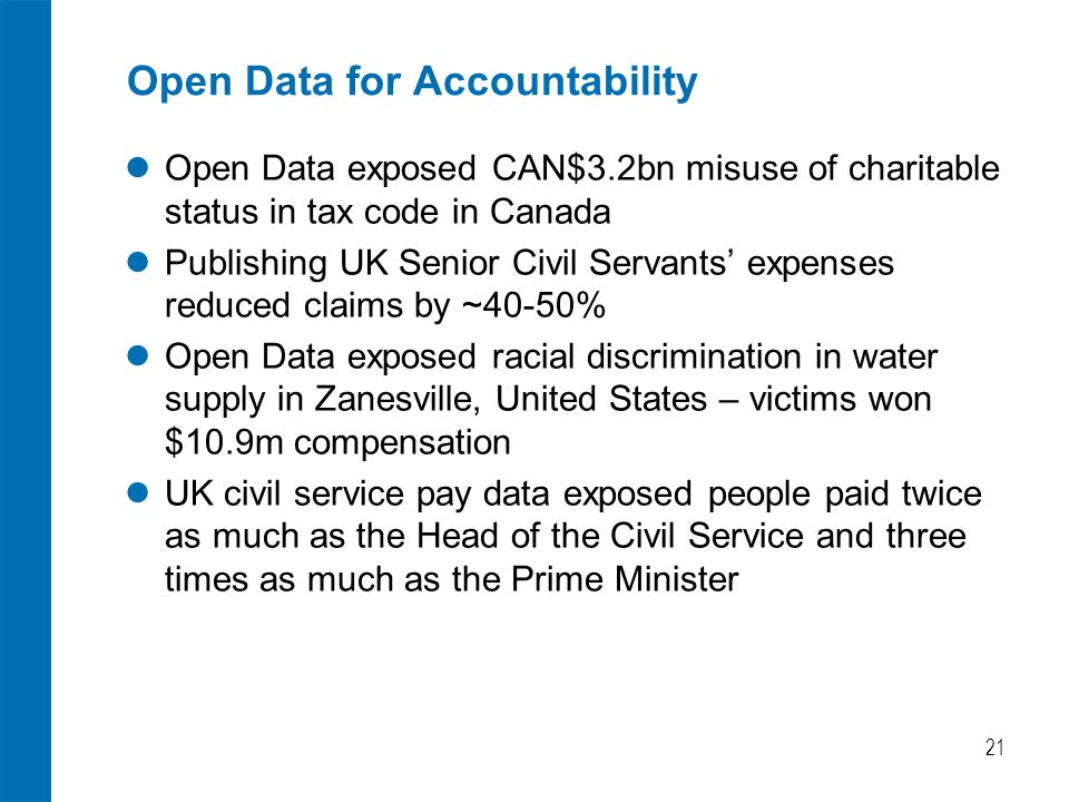 Open Data for Accountability Open Data exposed CAN$3.2bn misuse of charitable status in tax code in Canada Publishing UK Senior Civil Servants' expens