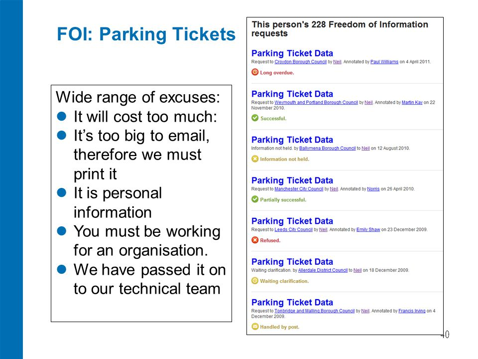 FOI: Parking Tickets 40 Wide range of excuses: It will cost too much: It's too big to email, therefore we must print it It is personal information You must be working for an organisation.