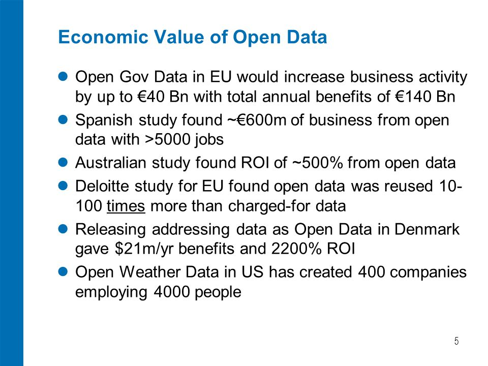 Economic Value of Open Data Open Gov Data in EU would increase business activity by up to €40 Bn with total annual benefits of €140 Bn Spanish study found ~€600m of business from open data with >5000 jobs Australian study found ROI of ~500% from open data Deloitte study for EU found open data was reused 10- 100 times more than charged-for data Releasing addressing data as Open Data in Denmark gave $21m/yr benefits and 2200% ROI Open Weather Data in US has created 400 companies employing 4000 people 5