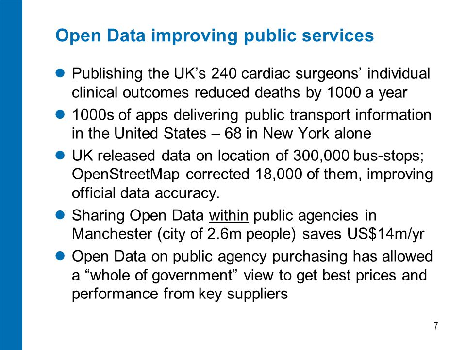 Open Data improving public services Publishing the UK's 240 cardiac surgeons' individual clinical outcomes reduced deaths by 1000 a year 1000s of apps