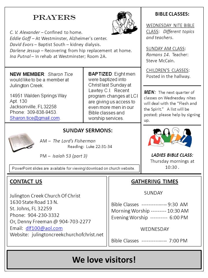CONTACT US Julington Creek Church Of Christ 1630 State Road 13 N. St. Johns, FL 32259 Phone: 904-230-3332 Or, Denny Freeman @ 904-703-2277 Email: dlf1