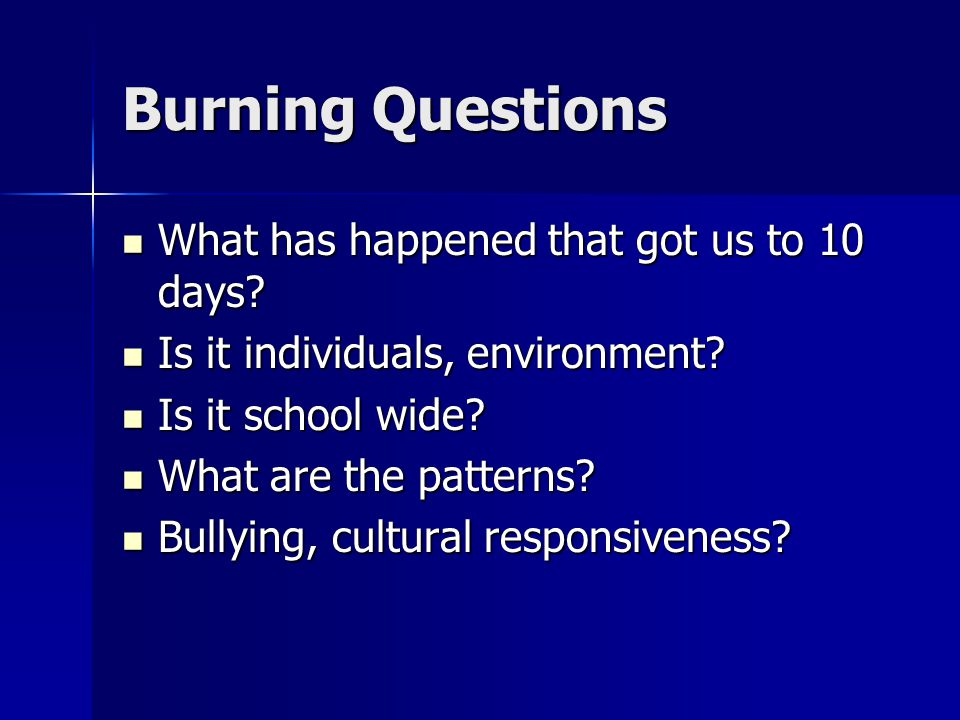 Burning Questions What has happened that got us to 10 days.