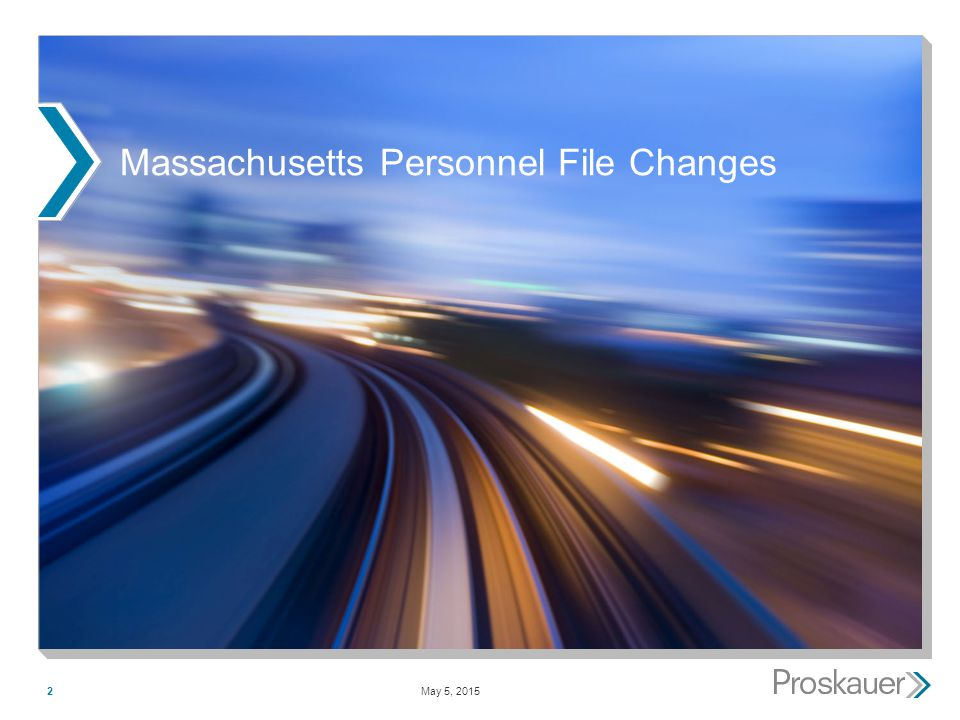 May 5, 20152 Massachusetts Personnel File Changes