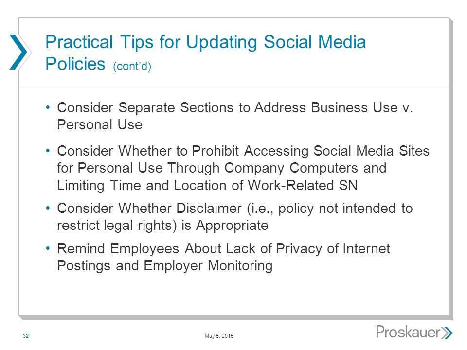 May 5, 201532 Practical Tips for Updating Social Media Policies (cont'd) Consider Separate Sections to Address Business Use v.